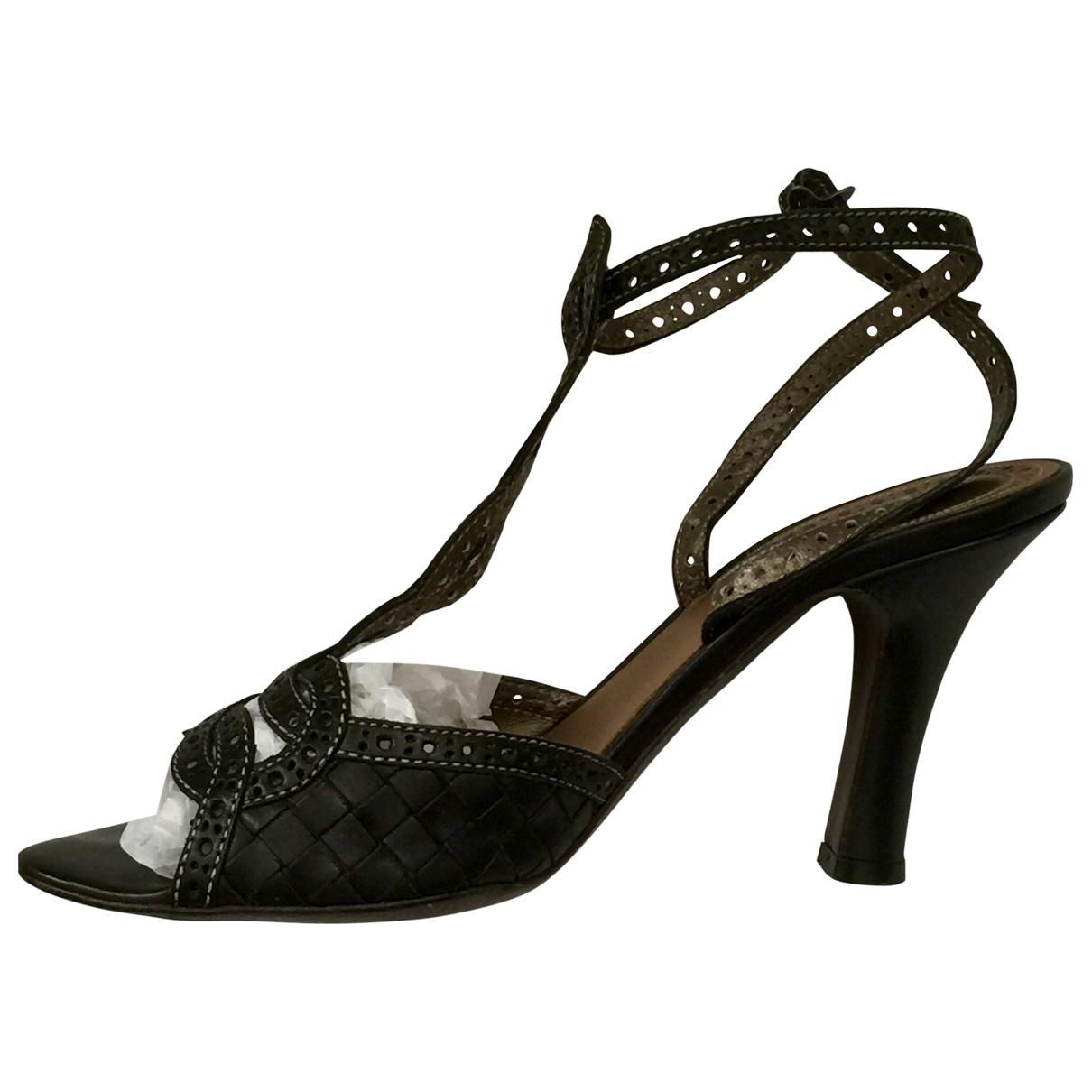 Bottega Veneta \N Black Leather Sandals for Women 38.5 EU