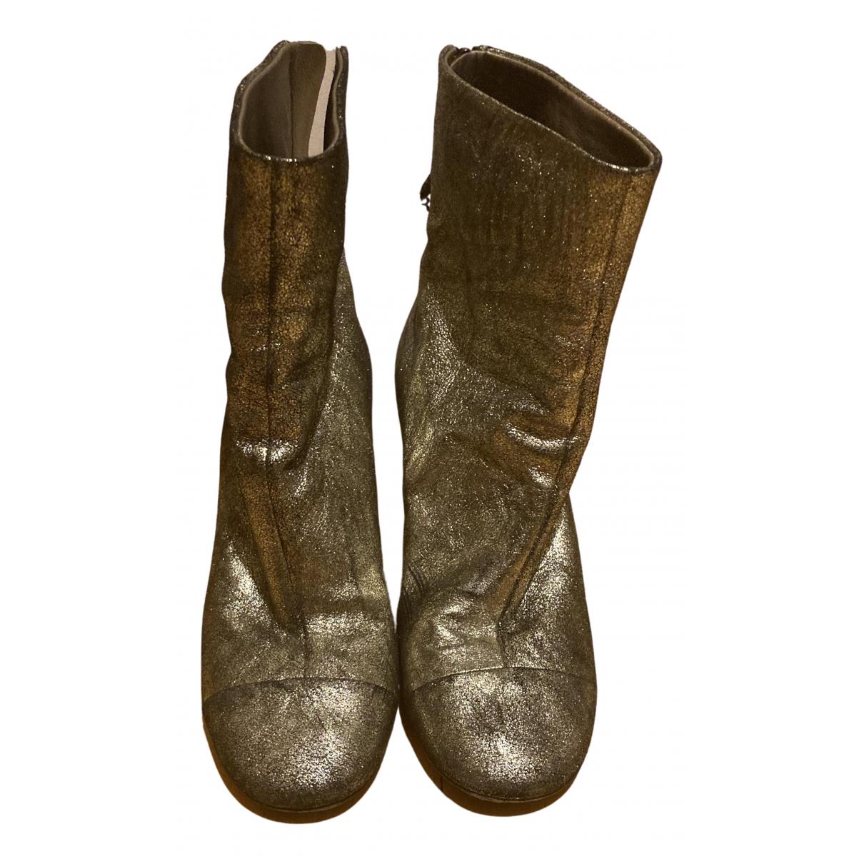 Isabel Marant Garett Gold Glitter Ankle boots for Women 5 UK