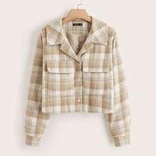 Plus Button Front Flap Pocket Plaid Jacket