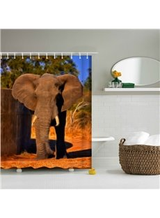 3D Mouldproof Elephant in the Sunset Printed Polyester Bathroom Shower Curtain