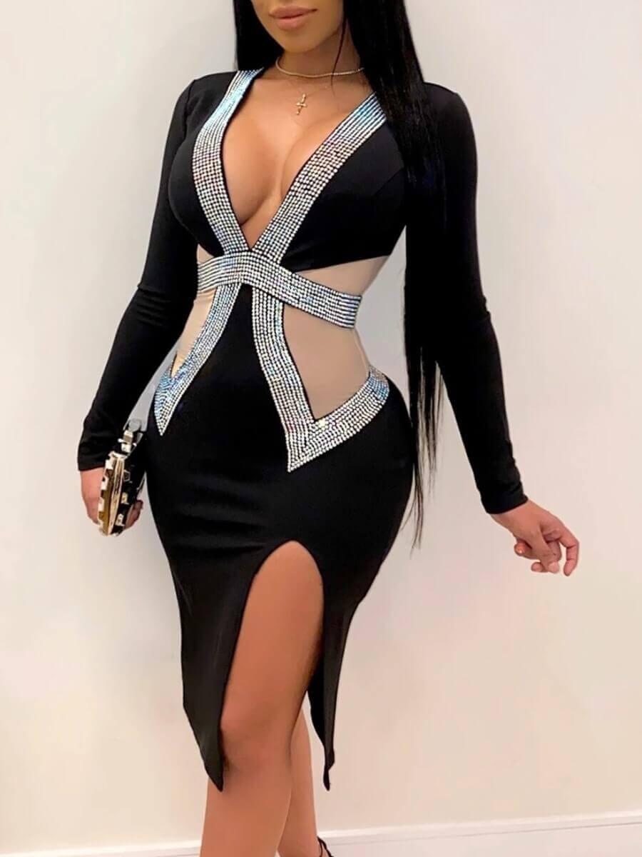 LW Lovely Sexy Side Slit Mesh Patchwork Black Knee Length Evening Dress