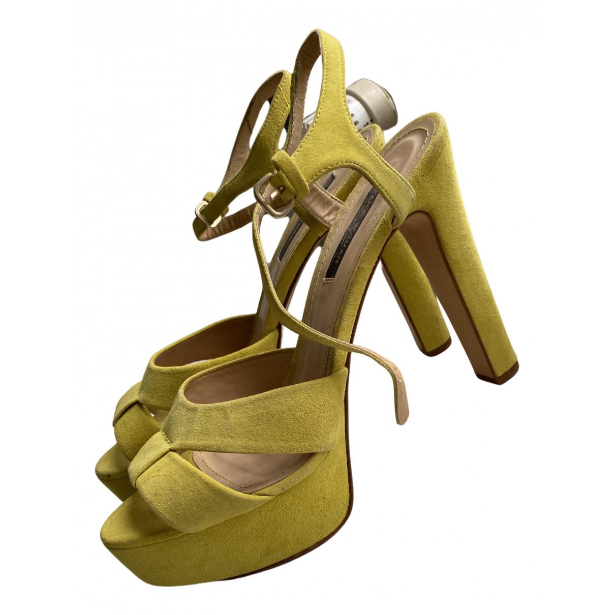 Zara N Yellow Suede Sandals for Women 40 EU