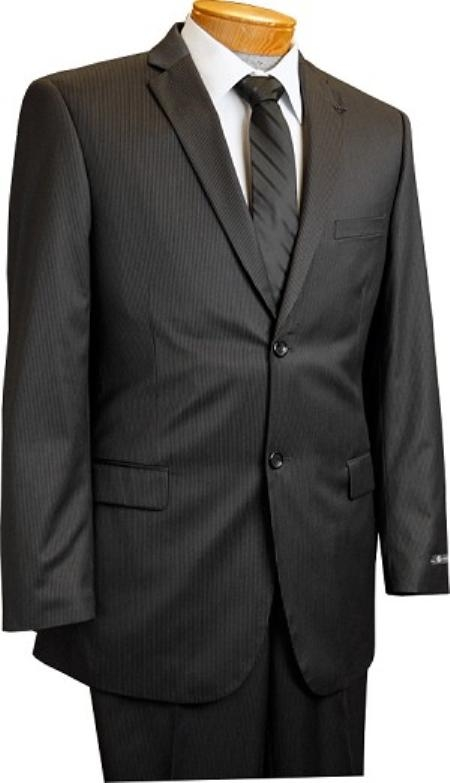 2 Button Slim Cut Black Pinstripe Suit Mens