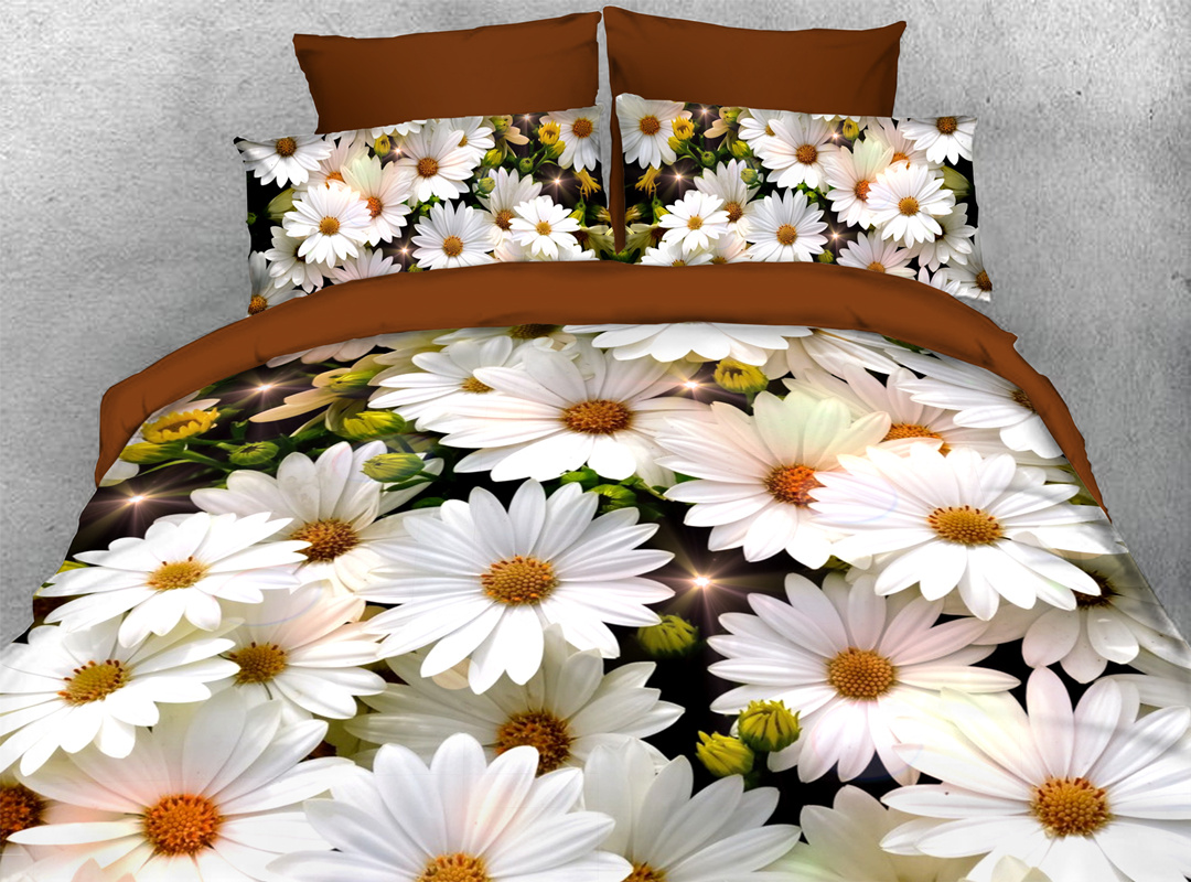White Daisy 3D Durable 4pcs Bedding Sets No-fading Soft Reactive Printing Zipper Duvet Cover with Ties