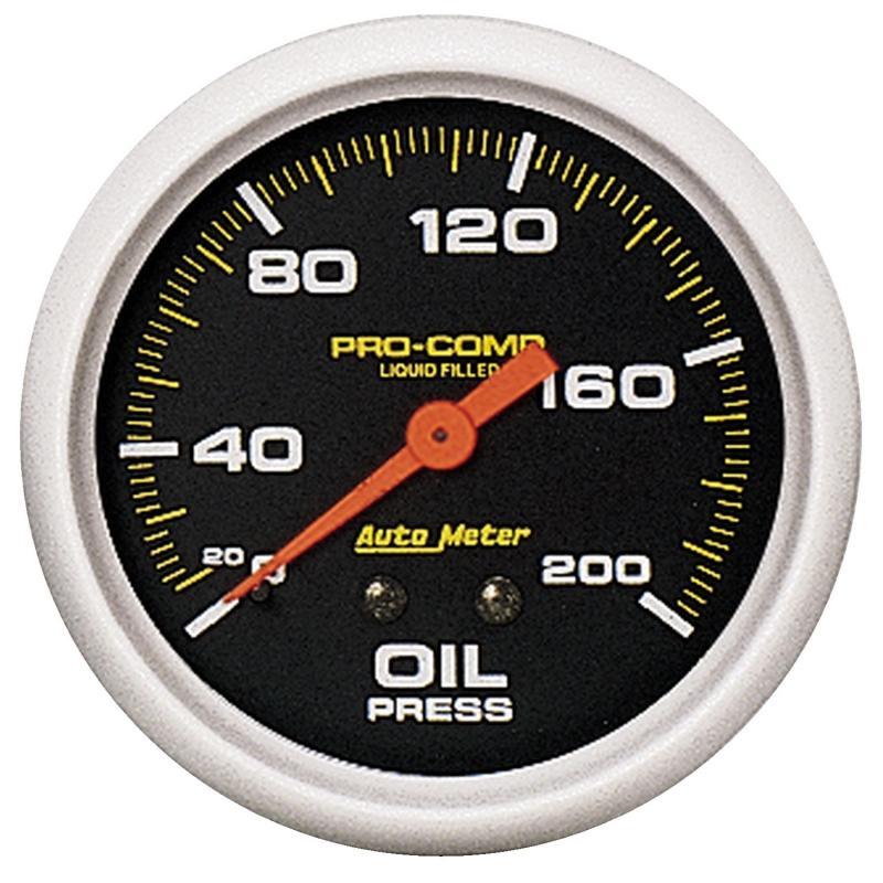 AutoMeter GAUGE; OIL PRESS; 2 5/8in.; 200PSI; LIQUID FILLED MECH; PRO-COMP