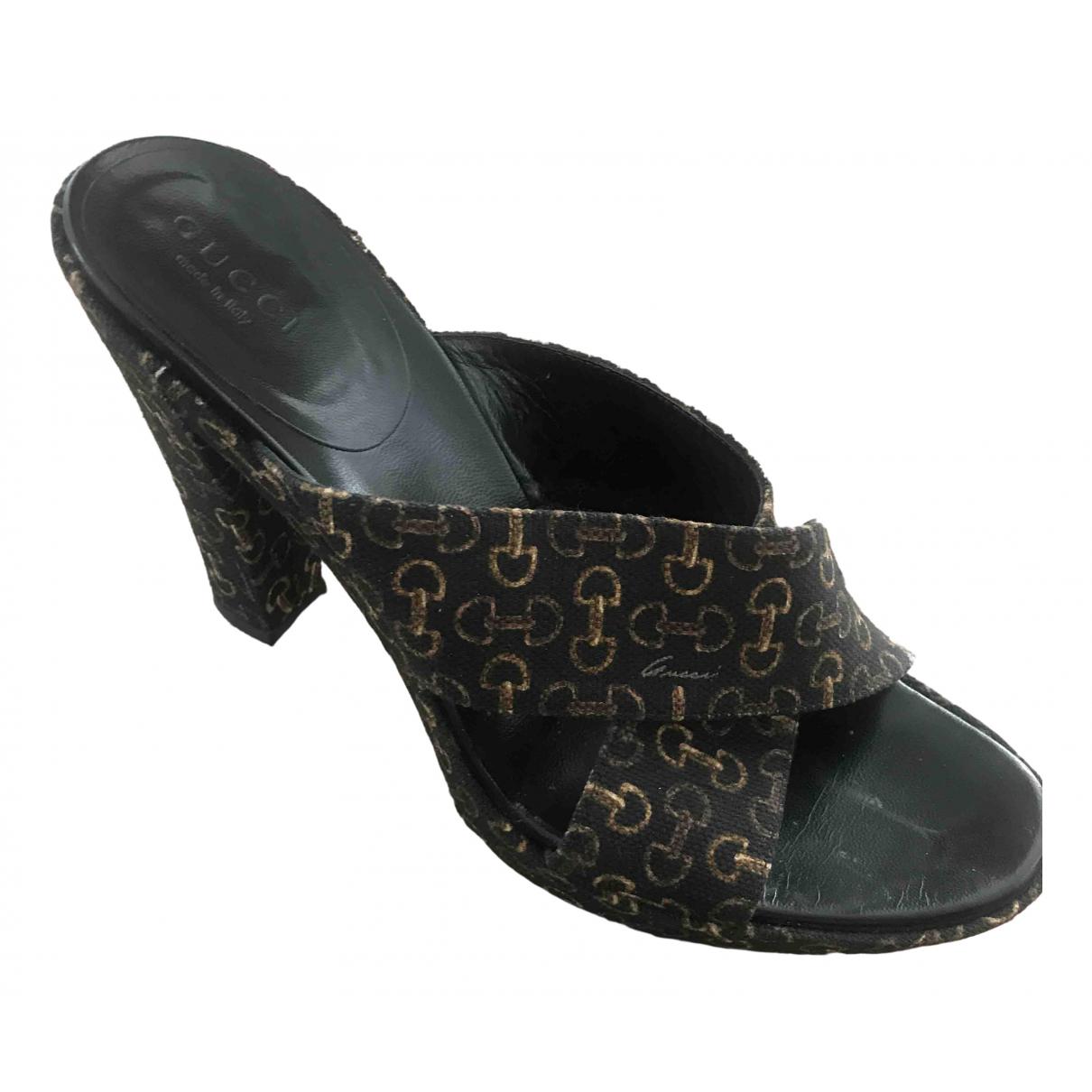 Gucci \N Black Cloth Sandals for Women 38 EU