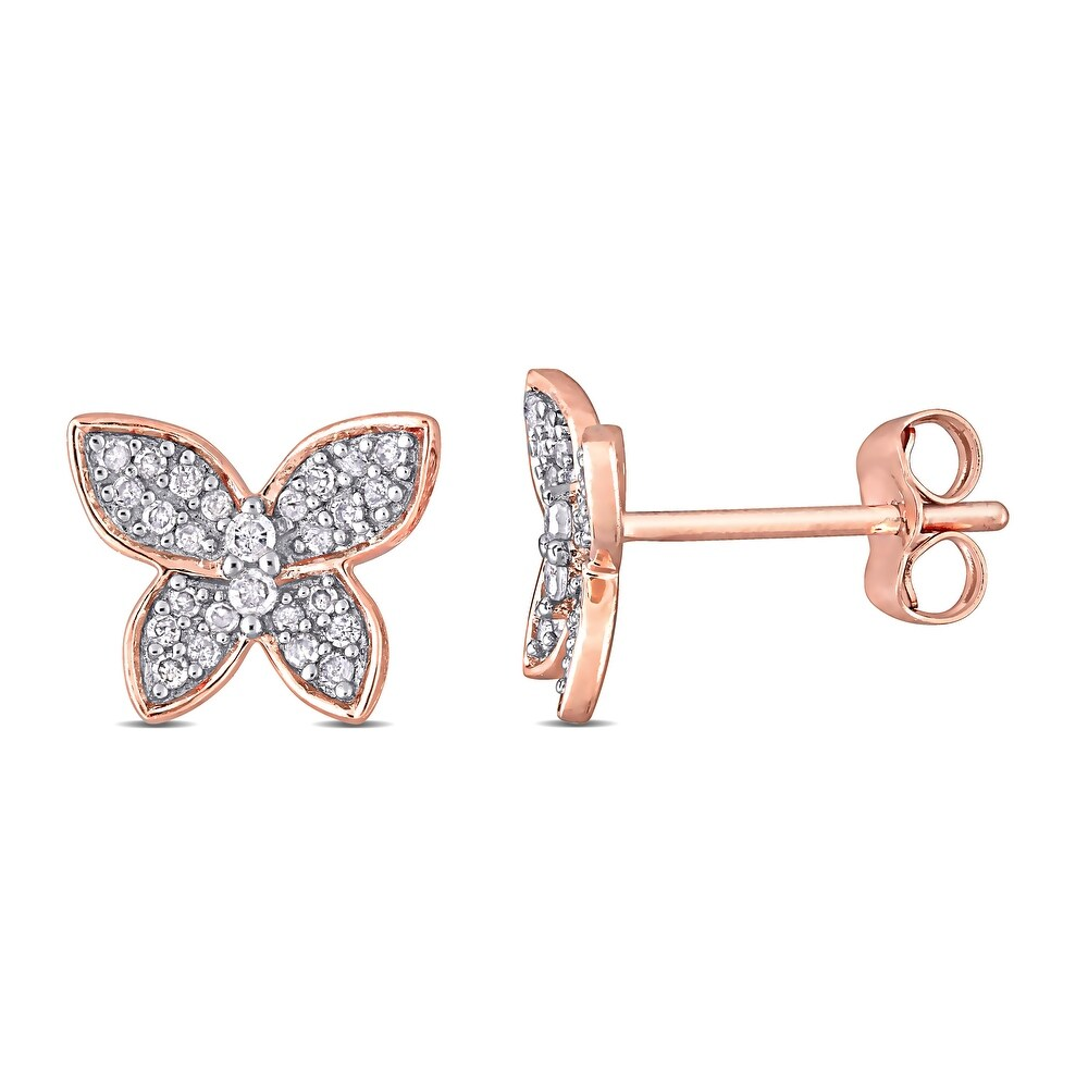 Miadora 10k Rose Gold 1/5ct TDW Diamond Butterfly Clustered Stud Earrings (Rose - White)