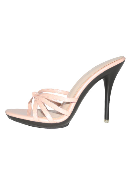 Milanoo High Heel Sandals Black Open Toe Cut Out Backless Sandal Slippers Women Slide Sandals