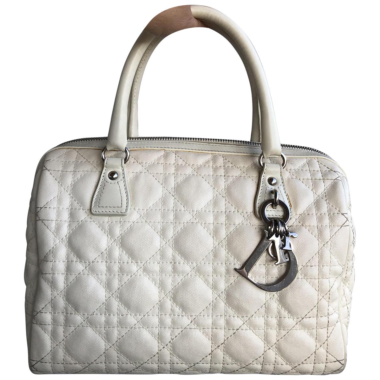 Dior - Sac a main   pour femme en toile - blanc