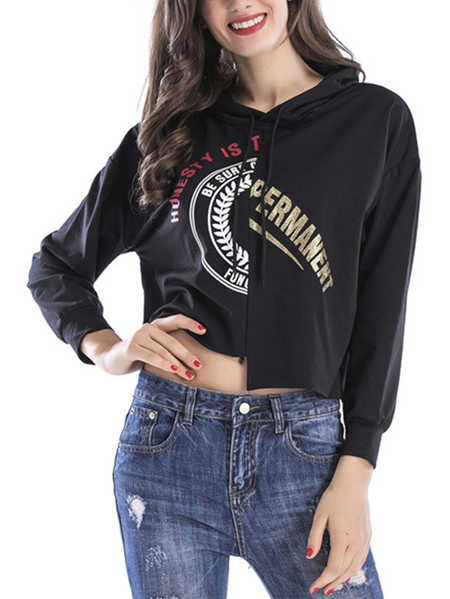 Yoins Active Letter Pattern Stitching Design Sports Hoodies in Black