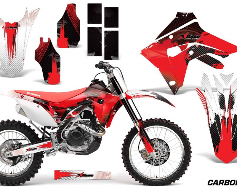 AMR Racing Dirt Bike Graphics Decal Sticker Wrap For Honda CRF450R   CRF450RX 2017+ CARBONX RED