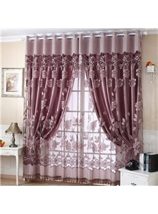 Beautiful Cameo Brown Floral Pattern Sheer & Grommet Top Curtain