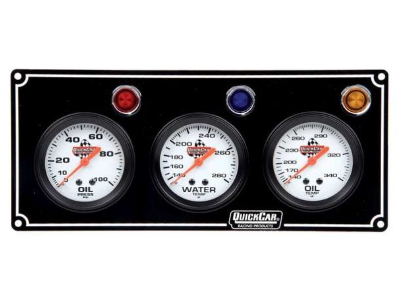 Quickcar Racing Products 3 Gauge Panel  OP/WT/OT Black