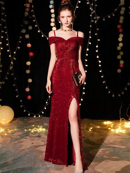 Milanoo Sequin Evening Dresses Sexy Off The Shoulder Split Floor Length Maxi Dress