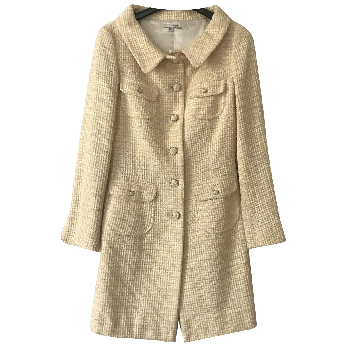 Zara - Manteau   pour femme en coton - jaune