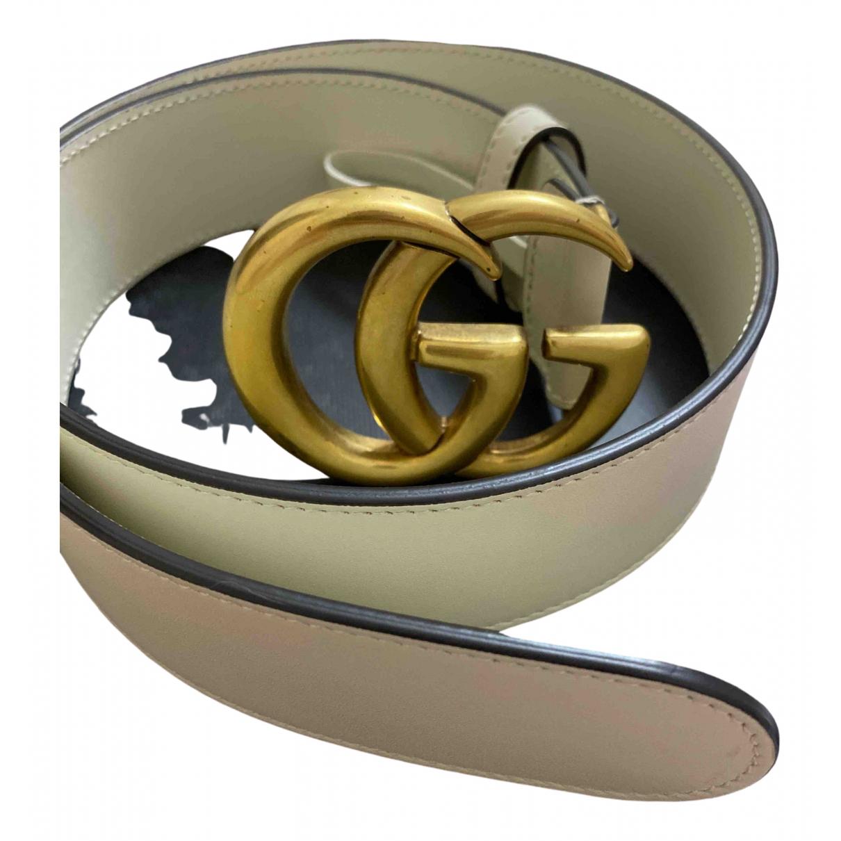 Gucci GG Buckle Guertel in  Weiss Leder