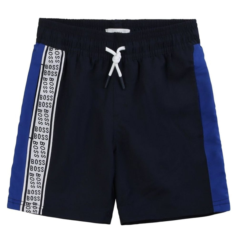Hugo Boss Kids Logo Print Swimshorts Colour: NAVY, Size: 4 YEARS