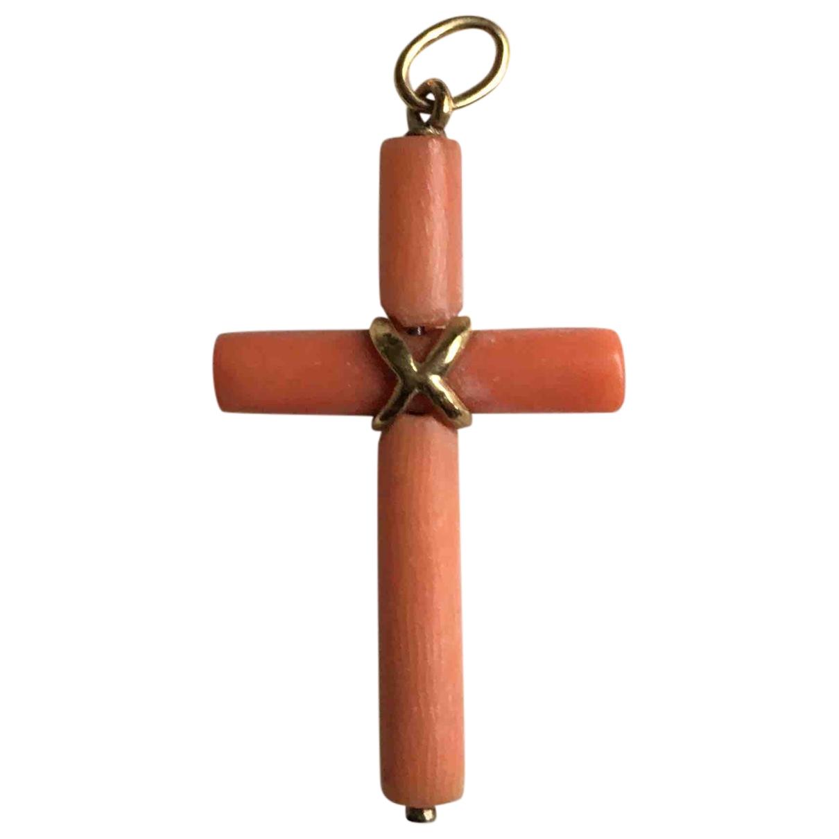 - Pendentif Croix pour femme en ceramique - orange