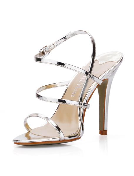 Milanoo High Heel Sandals Womens Silver PU Open Toe Slingback Stiletto Heels Sandals