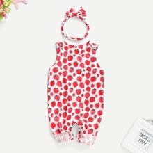 Baby Jumpsuit mit Erdbeere Muster und Stirband