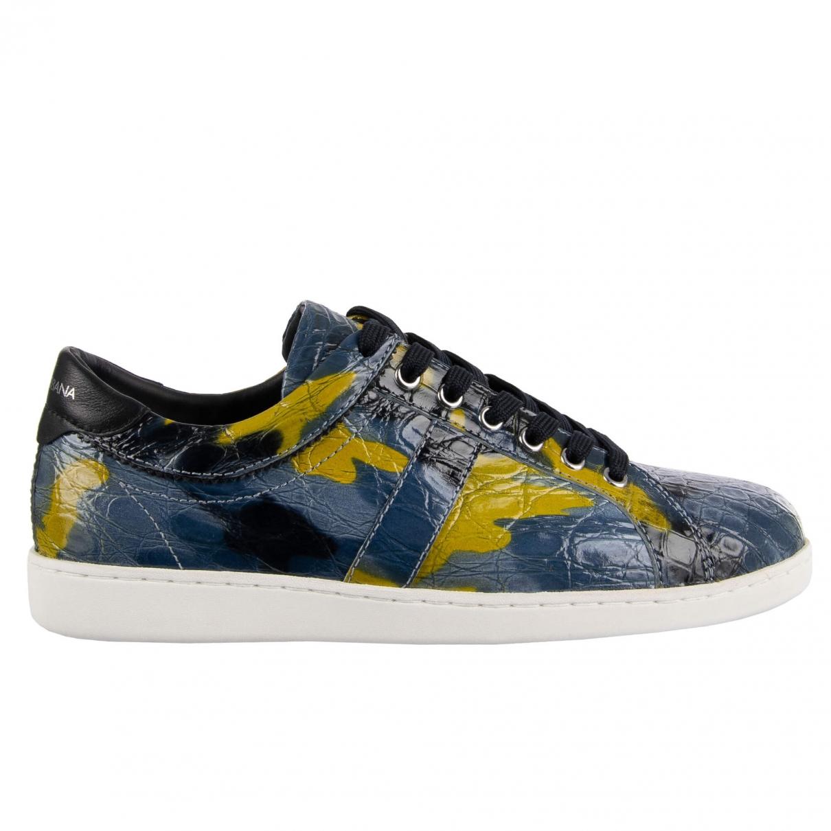 Dolce & Gabbana - Baskets   pour homme en crocodile - bleu