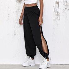 Pantalones con abertura lateral de cintura ancha