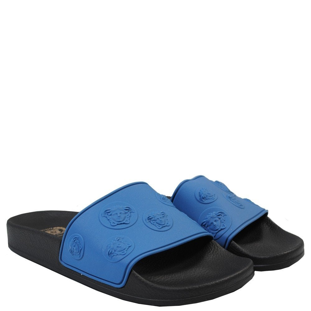 Versace Young Versace Black and Blue Medusa Sandals Colour: BLACK, Size: 5