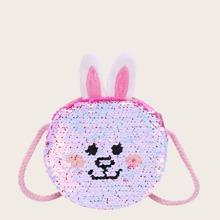 Bolsa bandolera de niñas con lentejuela con diseño de conejo de dibujos animados