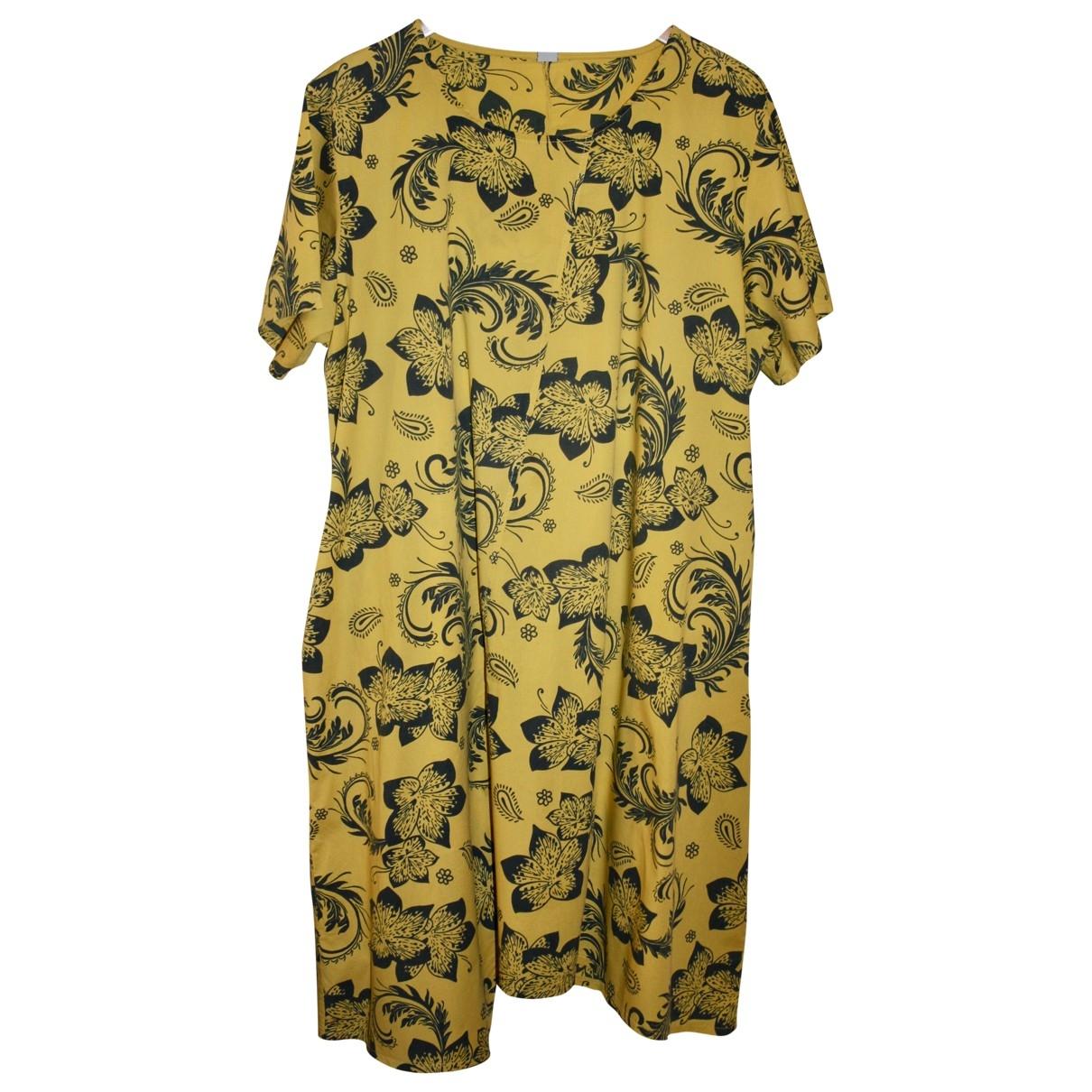 Non Signe / Unsigned Oversize Kleid in  Gelb Baumwolle