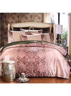Dusty Rose Gold Satin Jacquard Silky Soft Cotton 4-Piece Bedding Sets/Duvet Cover