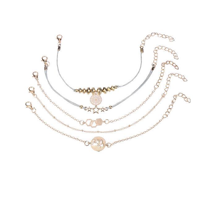 Trendy Pentagram Hand-woven Bracelet World Map Pendant Chain Beaded Bracelet Set