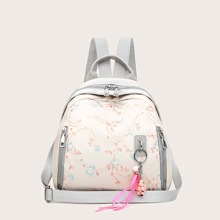 Flower Embroidered Zipper Front Backpack