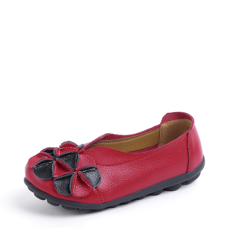 Yoins Red Genuine Leather Flowers Embellished Flats