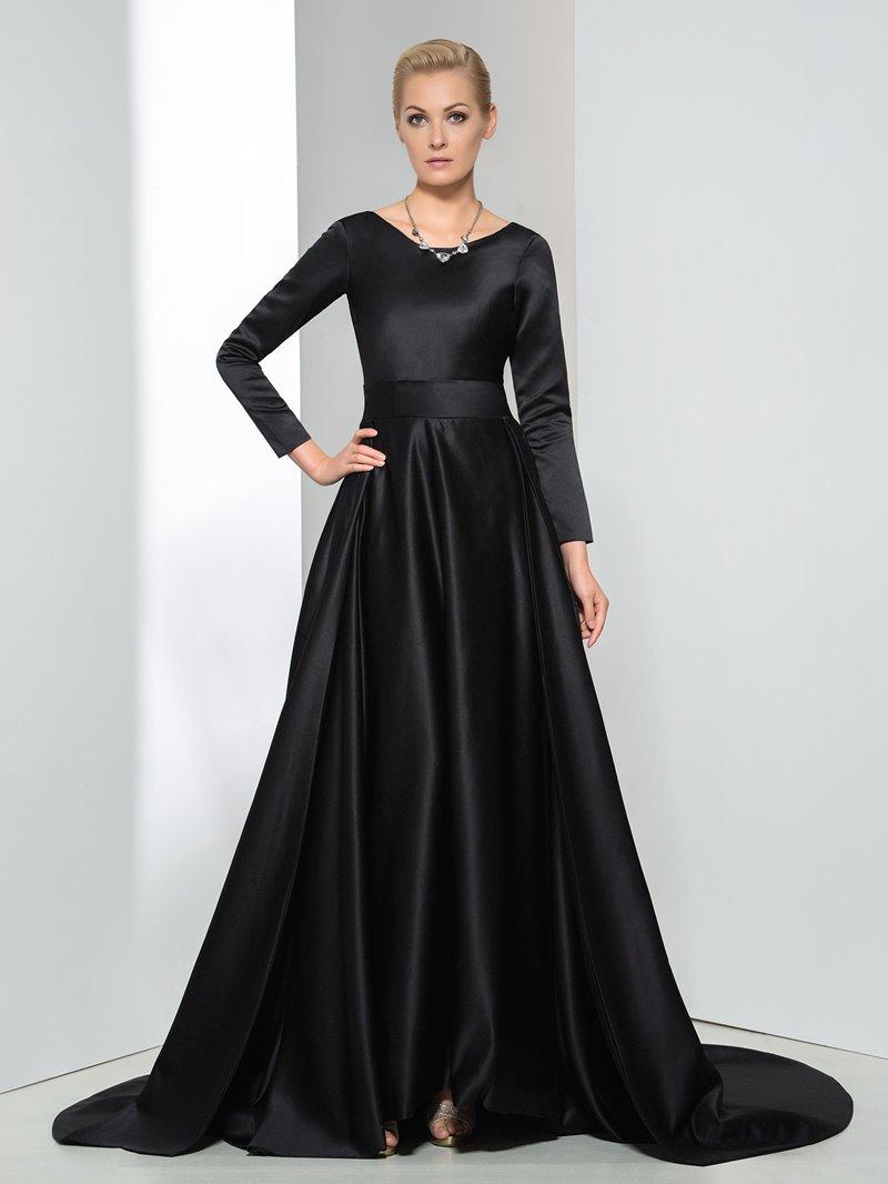 Ericdress Long Sleeves Bowknot Chapel Train Evening Dress