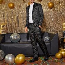 Men Lapel Collar Jacquard Blazer & Pants Set