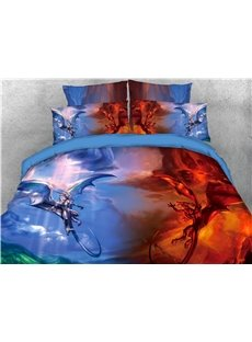 Blue and Red Fly Dragon Spouting Fire Printed 4-Piece 3D Bedding Sets/Duvet Covers