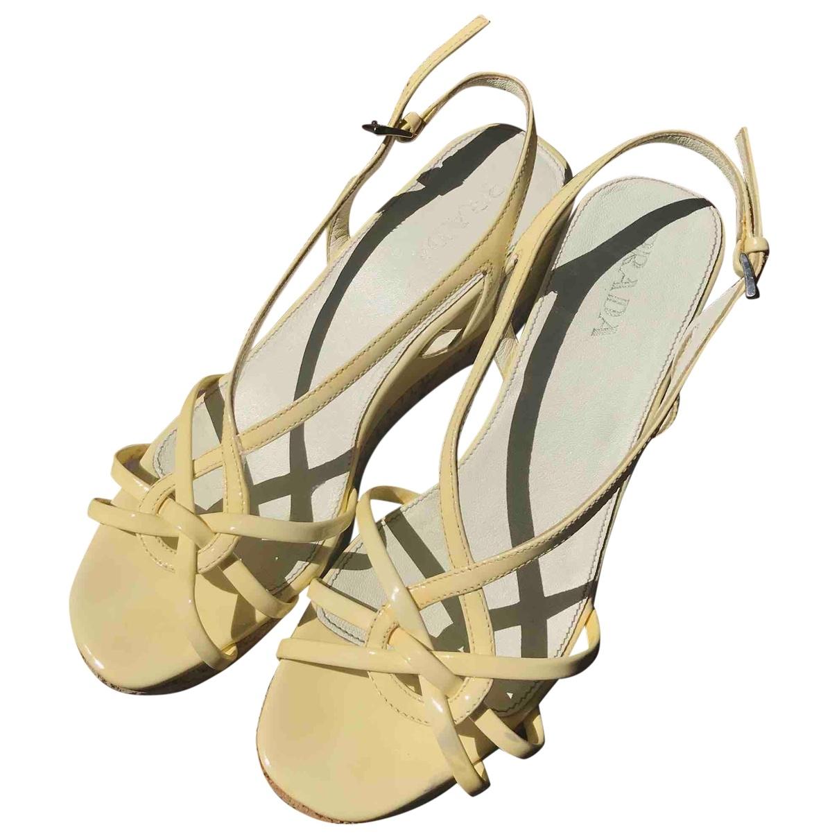 Prada \N Yellow Leather Sandals for Women 37.5 EU