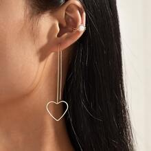 1pair Heart Drop Earrings & 1pc Ear Cuff