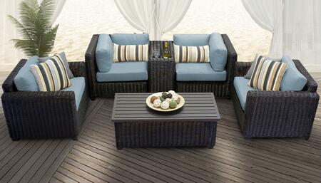 Venice Collection VENICE-06a-SPA 6-Piece Patio Set 06a with 2 Corner Chair   1 Cup Table   1 Coffee Table   2 Club Chair - Wheat and Spa