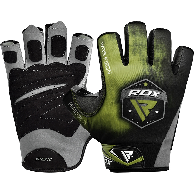RDX F12 Gants de Musculation 2X Grande  Vert Lycra