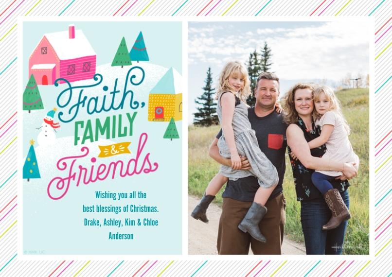 Fun & Festive 5x7 Cards, Standard Cardstock 85lb, Card & Stationery -Faith, Family, Friends