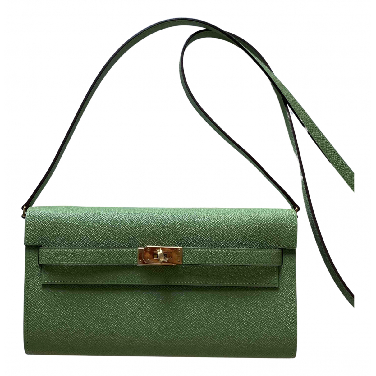 Hermès Kelly to go Green Leather Clutch bag for Women N