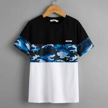 Boys Camo and Letter Graphic Colorblock Tee
