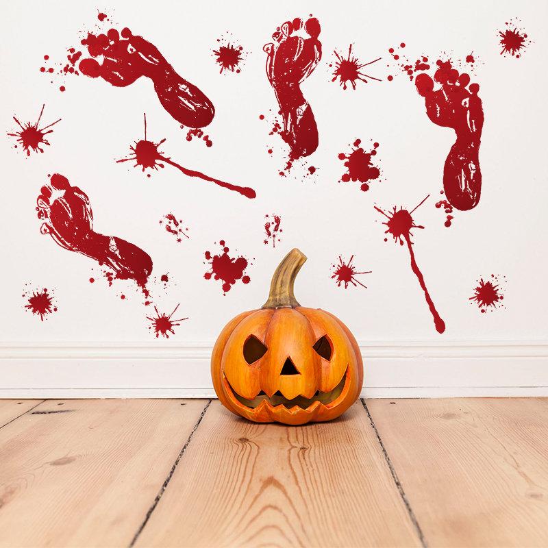 Halloween 3D Wall Stickers DIY Reusable Self-adhesive Wall Art Decor Blood FootprintSticker