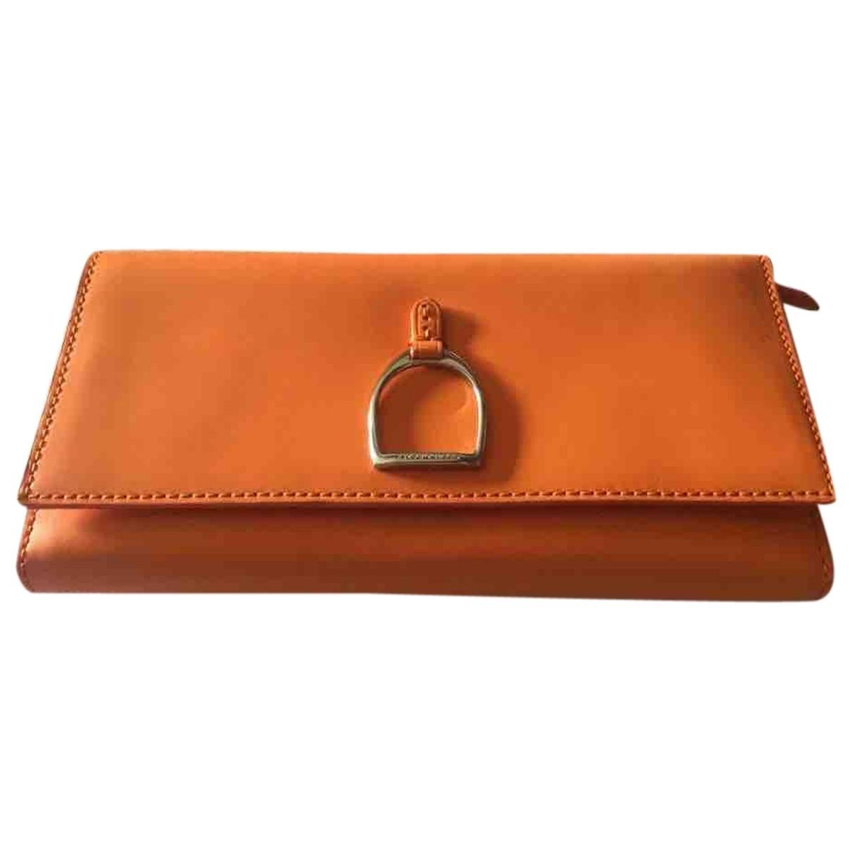 Ralph Lauren \N Portemonnaie in  Orange Leder