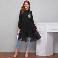 3D Applique Patch Pocket Ruffle Hem Blouse