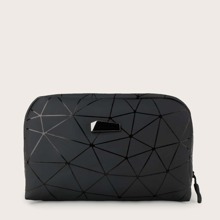 Geometric Pattern Zip Around Clutch Bag