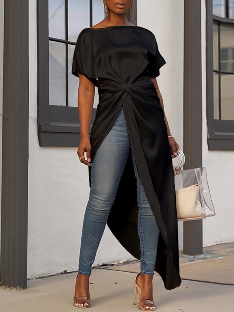 Ericdress African Fashion Regular Plain Round Neck Long Blouse