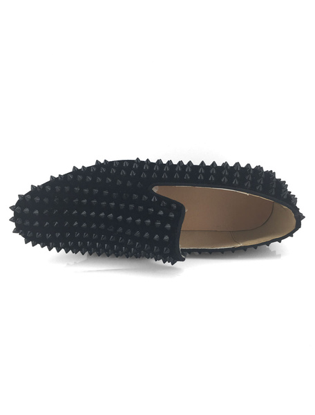 Milanoo Mens Bule Studded Loafers Prom Shoes Leather Spike with Rivets