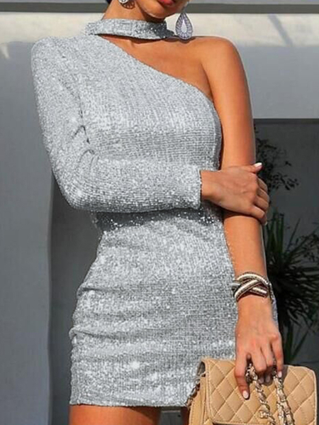 Yoins Silver One Shoulder Long Sleeves Jersey Dress